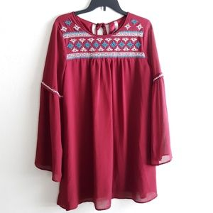 ENTRO bobo gypsy  dress embroidered Medium